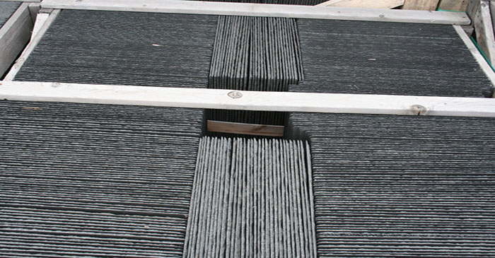 Roofing slate pallets can hold anywhere from 368 to 1700 pieces per pallet depending on size and thickness