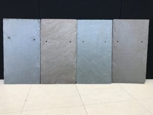 Samples of semi-weathering gray green slates showing the color variation